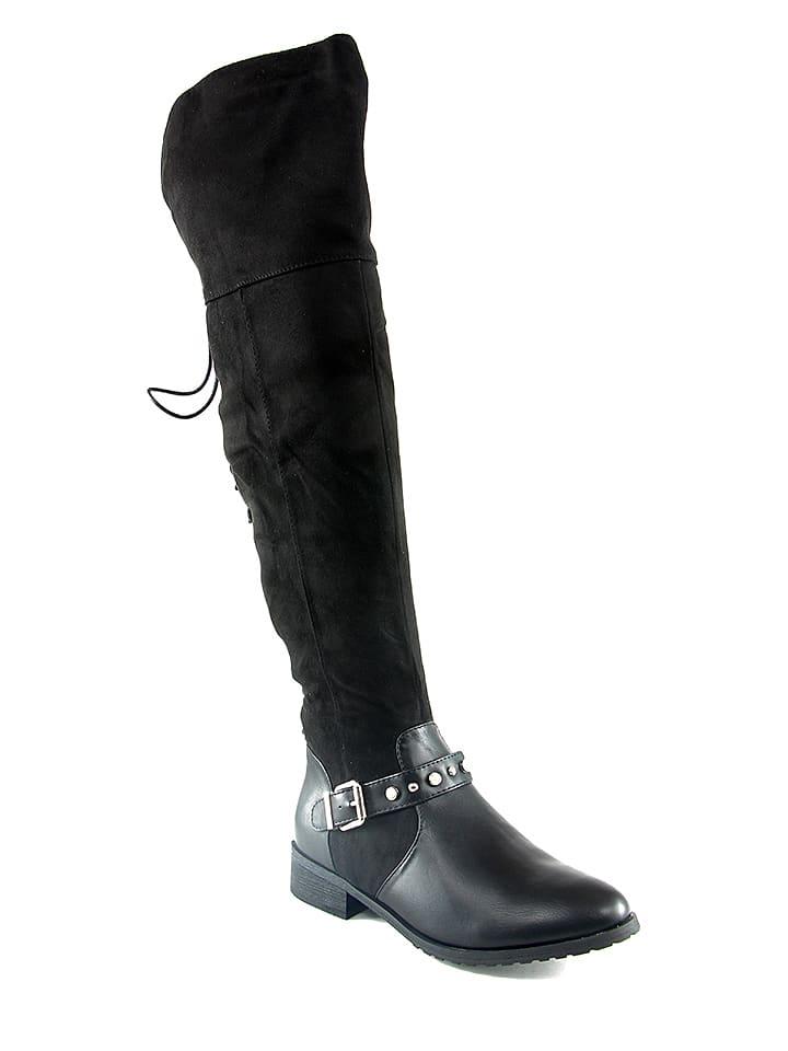 C M Paris Overknee-laarzen zwart