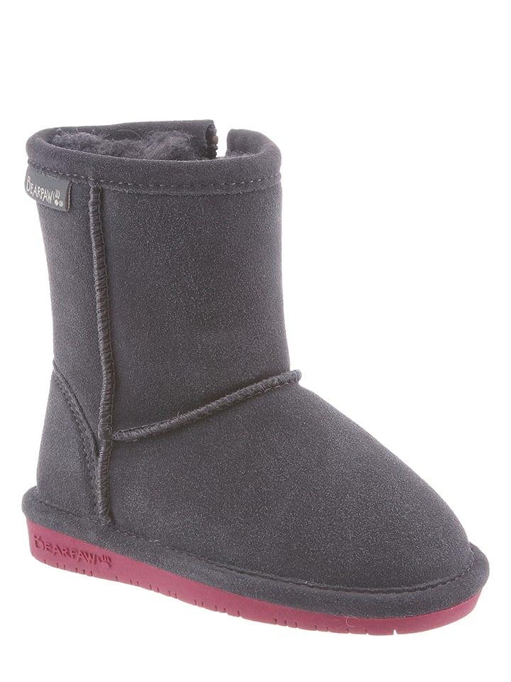 "Bearpaw Leder-Stiefel ""Emma Toddler"" in Grau/ Pink"