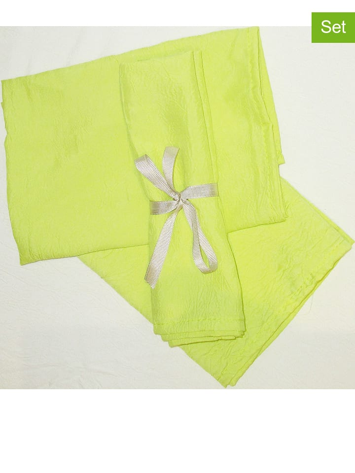 "Calitex Lot de 3: serviettes ""Taffetas"" - jaune"