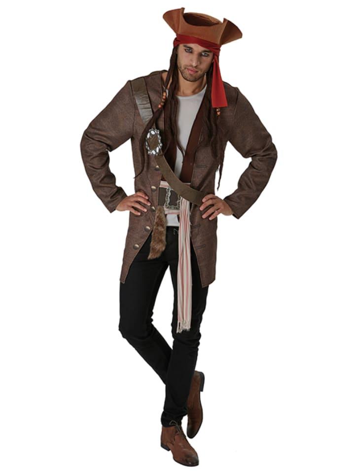 """Rubie`s 4-częściowy kostium """"Jack Sparrow"""" w kolorze brązowym"""