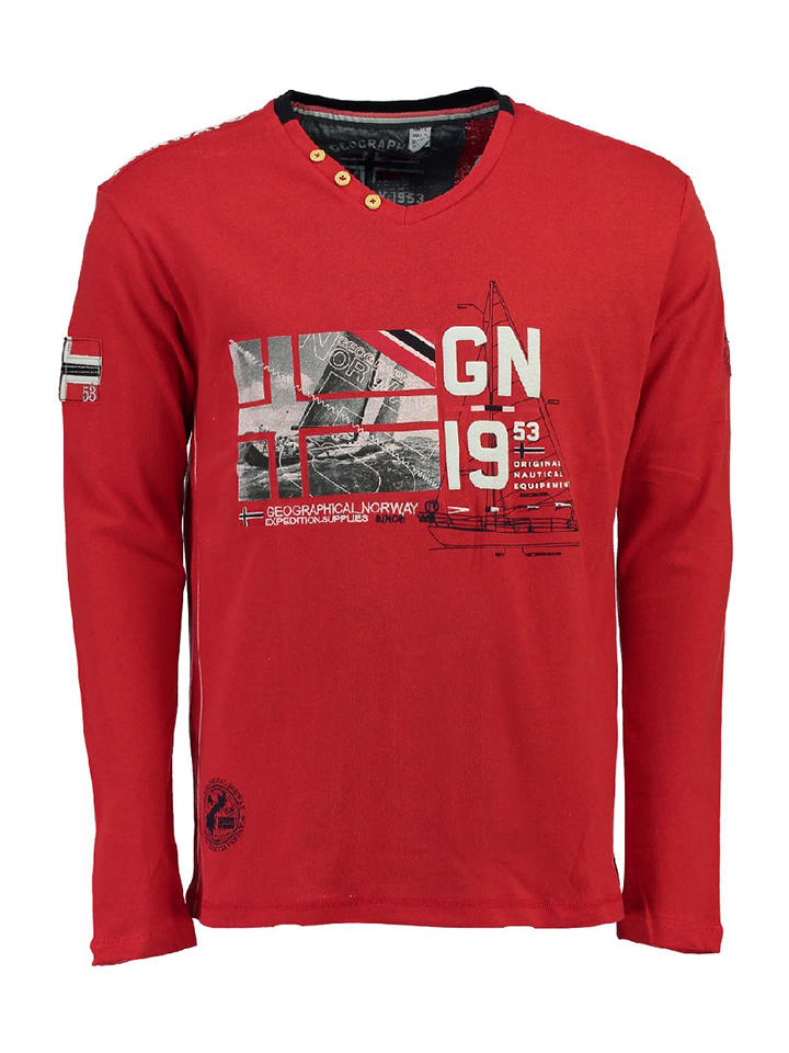 "Geographical Norway T-shirt manches longues ""Jalopark"" - rouge"