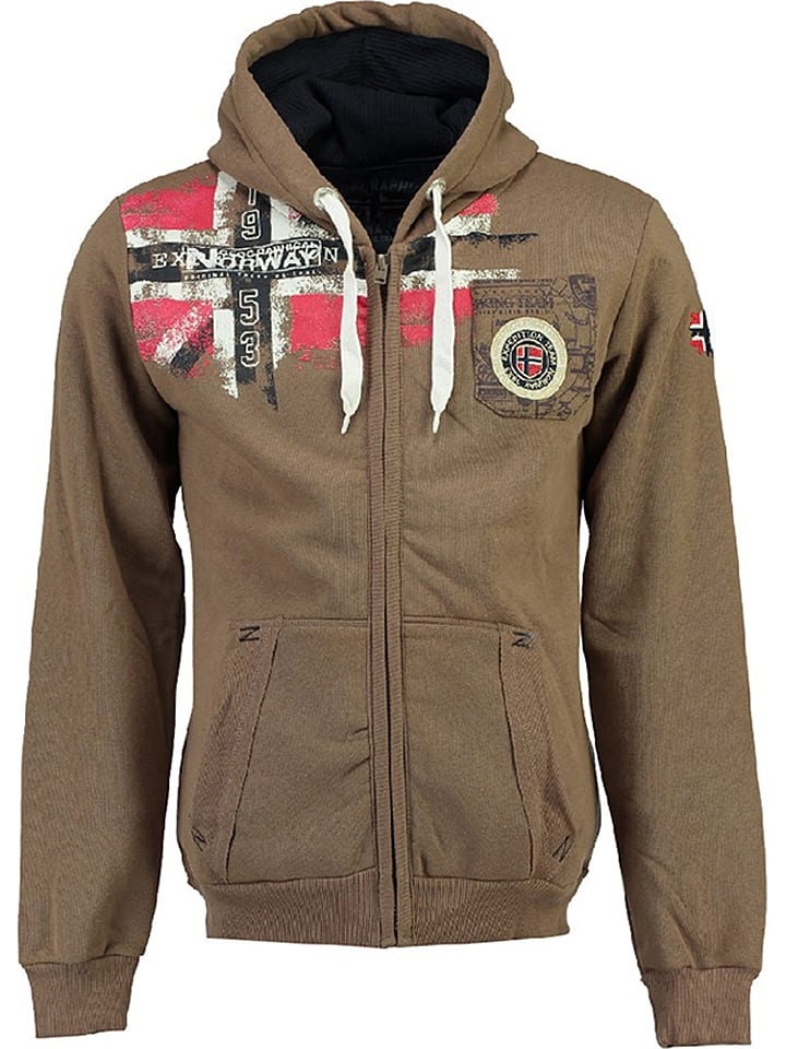 """Geographical Norway Sweat zippé """"Fespote"""" - taupe"""