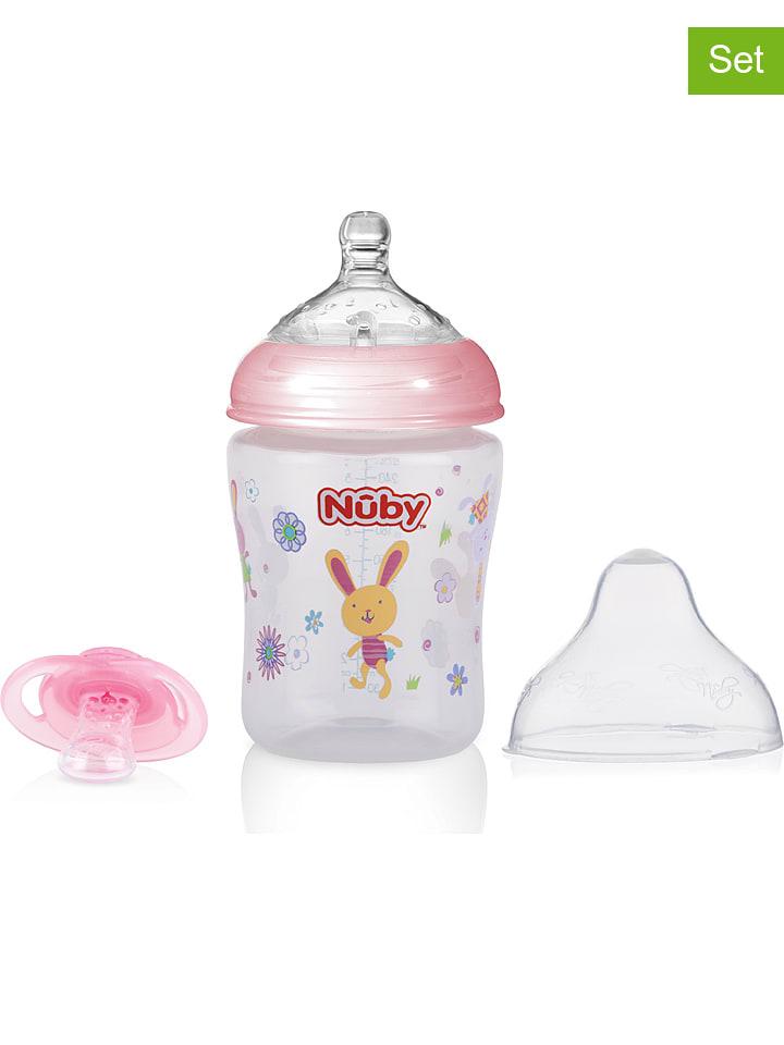 """Nûby 4-delige set: babyflessen """"SoftFlex"""" & speen roze"""