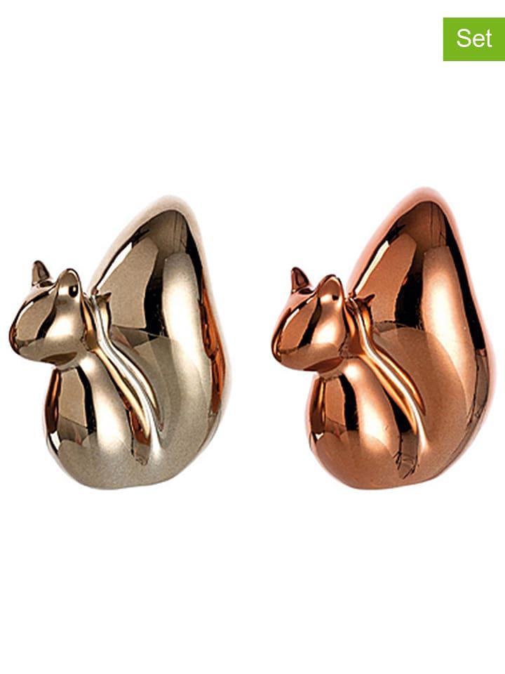 """LEONARDO 2er-Set: Dekofiguren """"Edy"""" in Gold/ Bronze - (B)7,4 x (H)8,7 x (T)4,6 cm"""