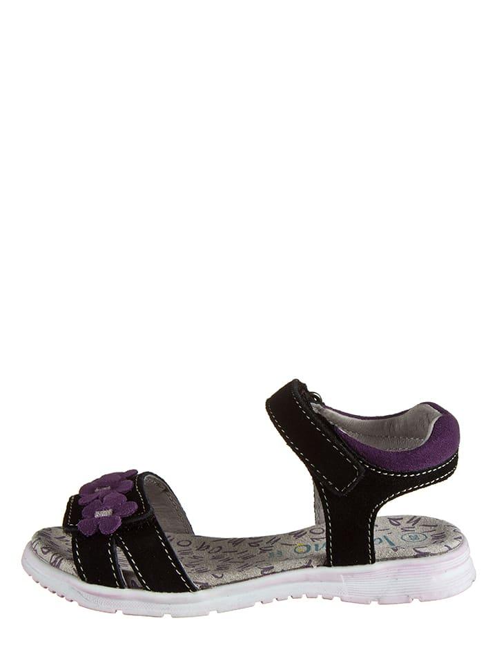 Lamino Skórzane sandały w kolorze czarnym