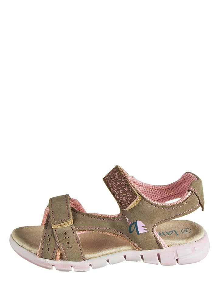 Lamino Skórzane sandały w kolorze beżowym