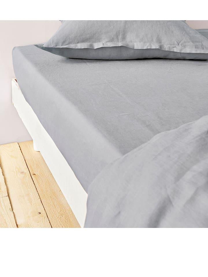 drap housse métis lin coton BATON ROUGE   Drap housse en métis lin coton   gris clair   Outlet  drap housse métis lin coton