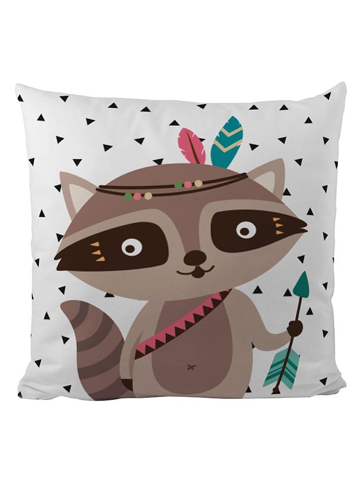 """Mr Little Fox Poduszka """"Indian raccoon"""" w kolorze biało-brązowym - 50 x 50 cm"""