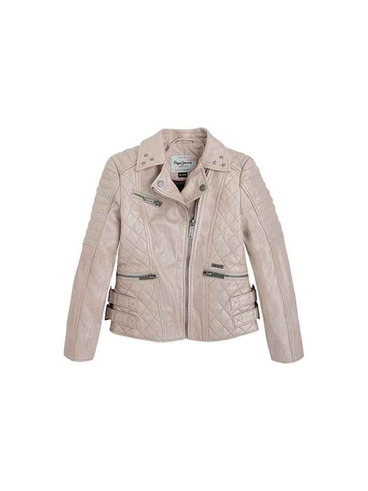 Pepe Jeans Skórzana kurtka w kolorze beżowym