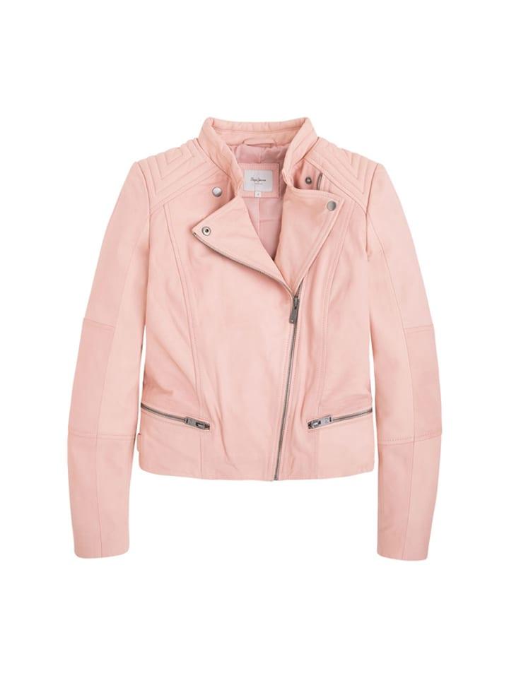 Pepe Jeans Skórzana kurtka w kolorze jasnoróżowym