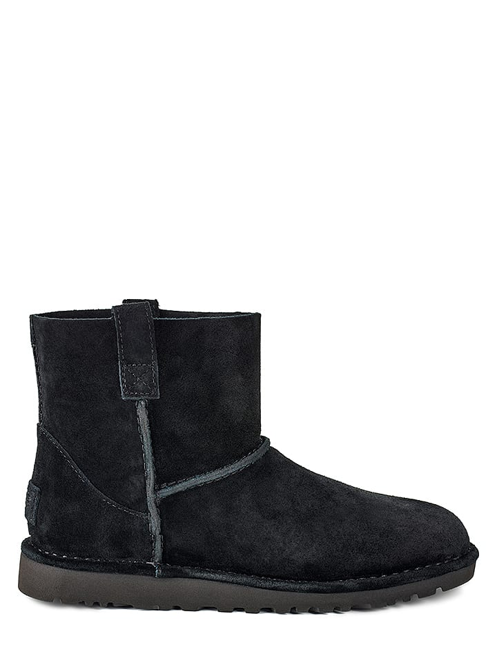 "UGG Leder-Boots ""Classic Unlined Mini"" in Schwarz"