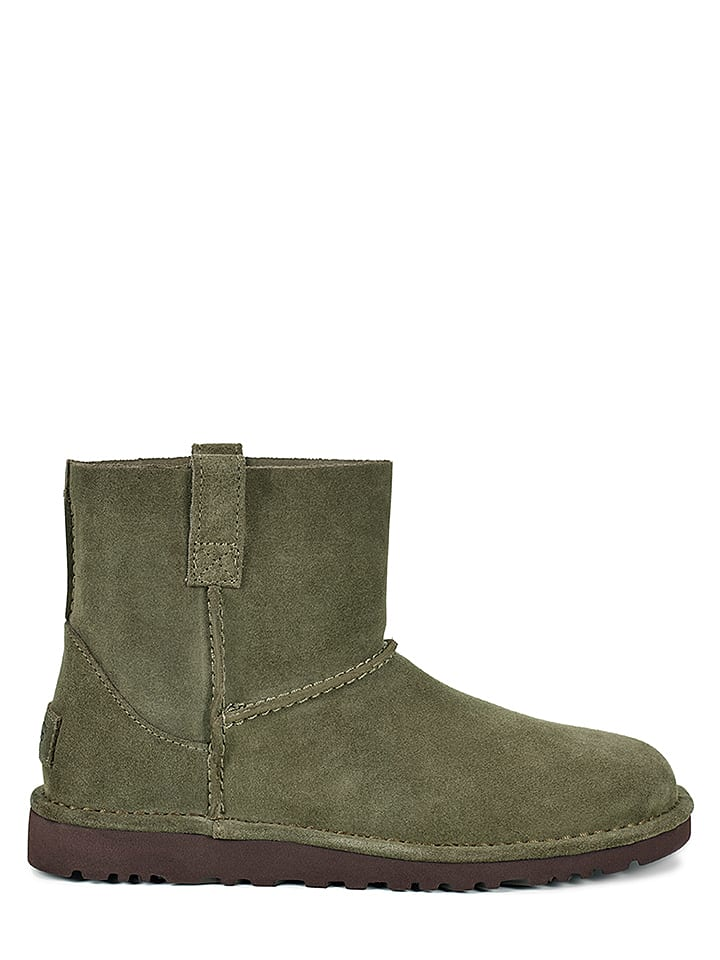 "UGG Leder-Boots ""Classic Unlined Mini"" in Khaki"