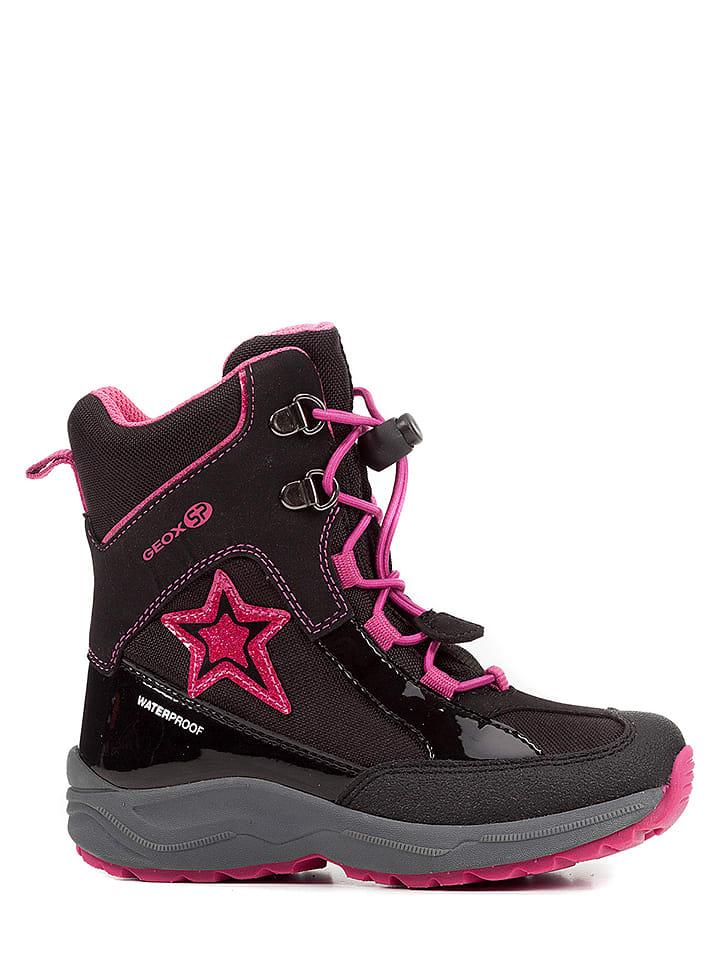 """Geox Botki zimowe""""New Alaska"""" w kolorze czarno-różowym"""