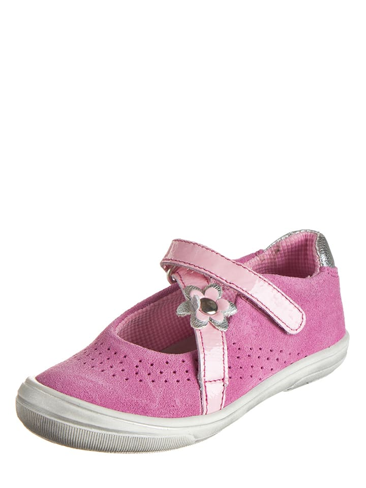 Richter Shoes Skórzane baleriny w kolorze różowym z paskiem