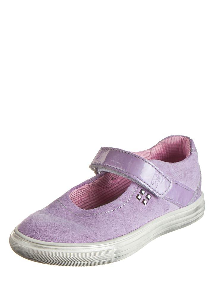 Richter Shoes Skórzane baleriny w kolorze fioletowym z paskiem