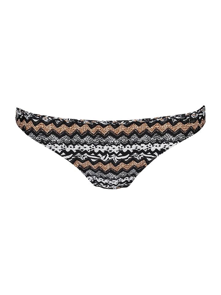 Lilou Secret Figi bikini w kolorze czarno-biało-jasnobrązowym
