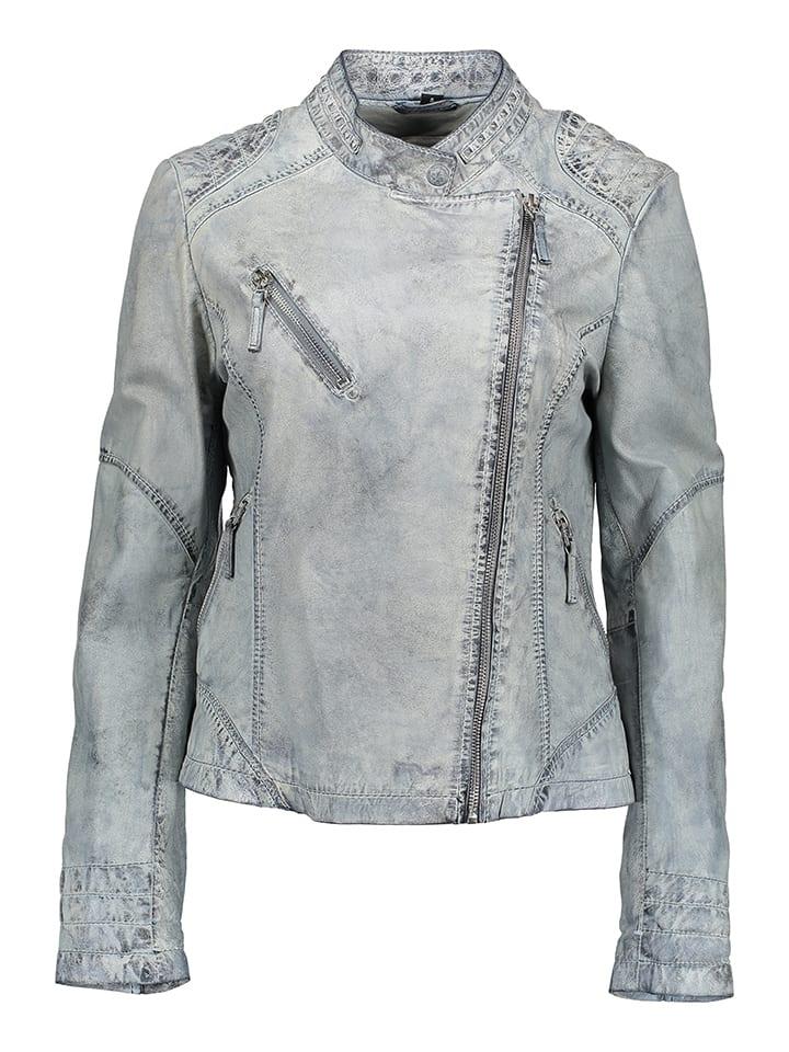 BLUE MONKEY Skórzana kurtka w kolorze biało-jasnoszarym