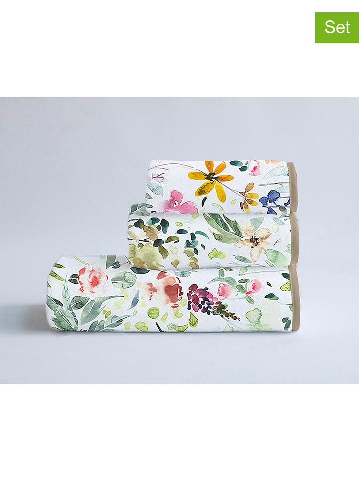"""Surdic 3-delige handdoekset """"Calm Flowers"""" wit/meerkleurig"""