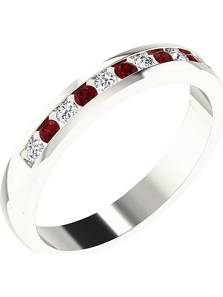 Art of Diamond Weißgold-Ring mit Diamanten und synth. Rubinen