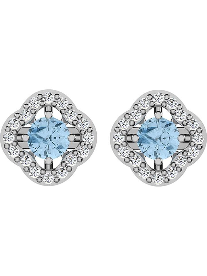 Diamant Vendôme Clous d'oreilles en or blanc avec diamants et aigues-marines
