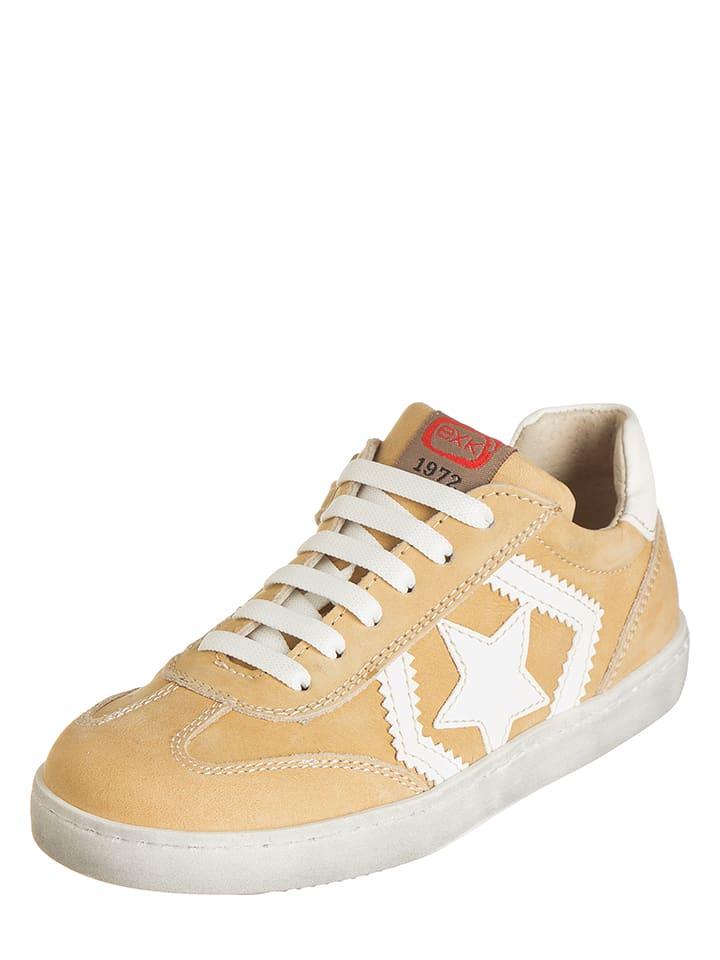 EXK Skórzane sneakersy w kolorze żółtym