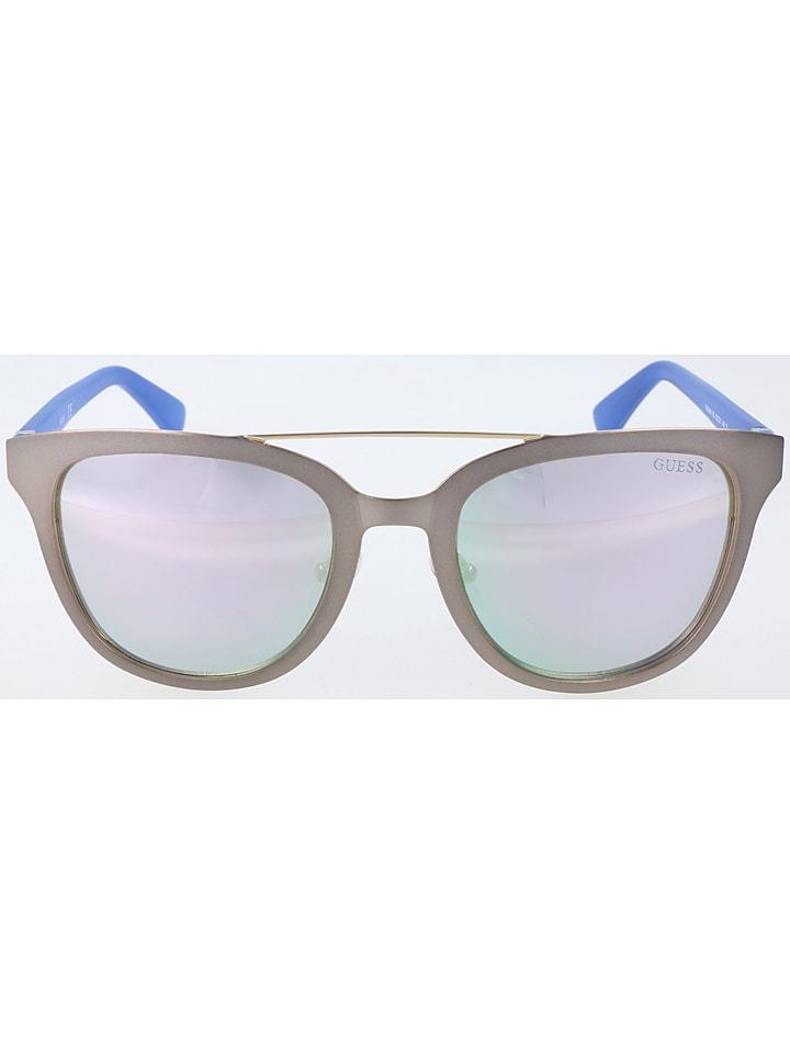 Guess Męskie okulary przeciwsłoneczne w kolorze srebrnym
