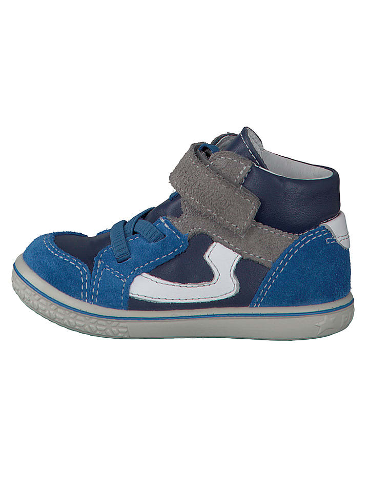 "PEPINO Leder-Sneakers ""Benni"" in Blau/ Grau"