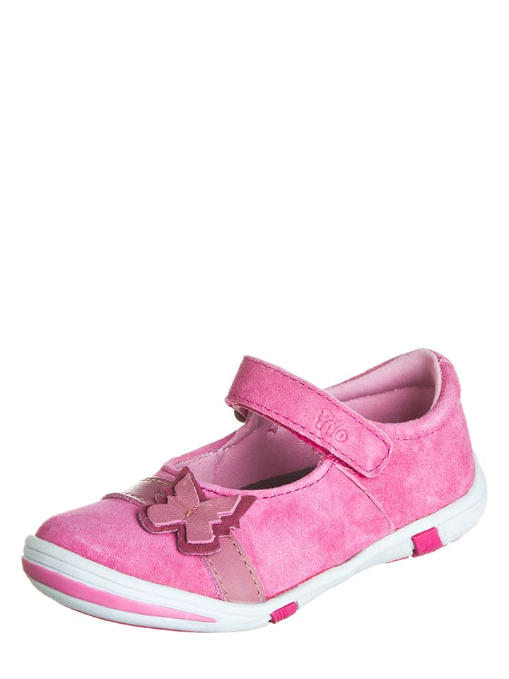 Pio Skórzane baleriny w kolorze różowym z paskiem