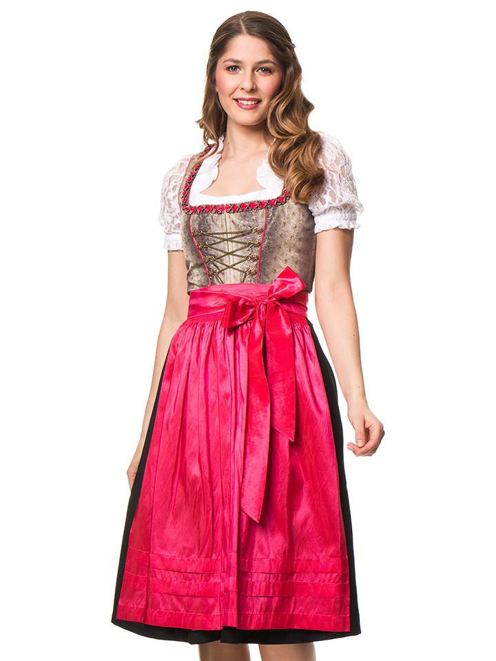 """LEKRA Midi-Dirndl """"Salzach"""" in Taupe/ Pink/ Schwarz"""