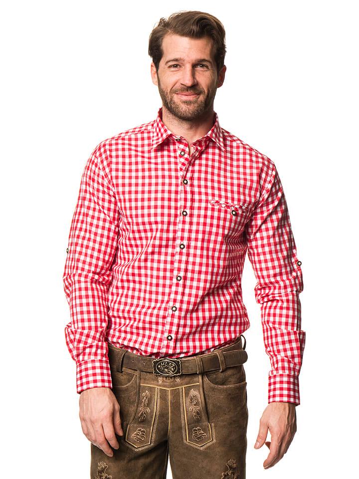"""LEKRA Trachtenhemd """"Wenzel"""" in Rot/ Weiß"""