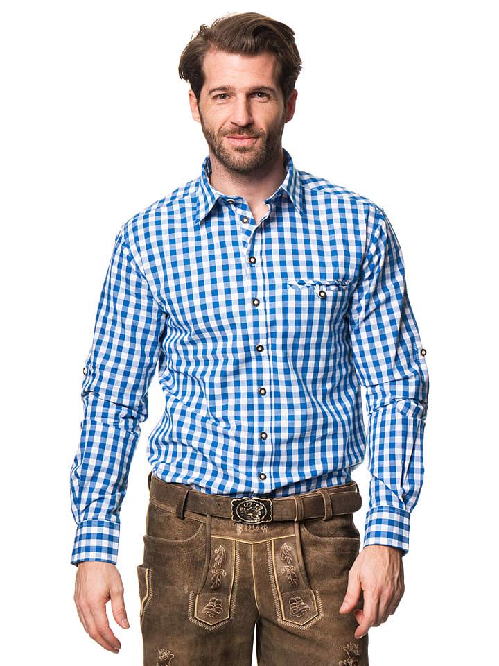 """LEKRA Trachtenhemd """"Wenzel"""" in Blau/ Weiß"""