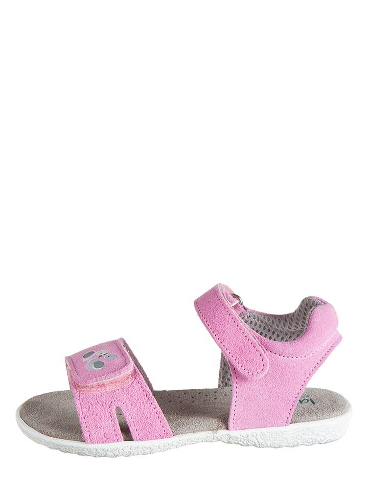 Lamino Skórzane sandały w kolorze jasnoróżowym