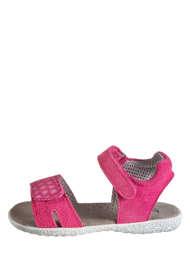 Lamino Skórzane sandały w kolorze fuksji