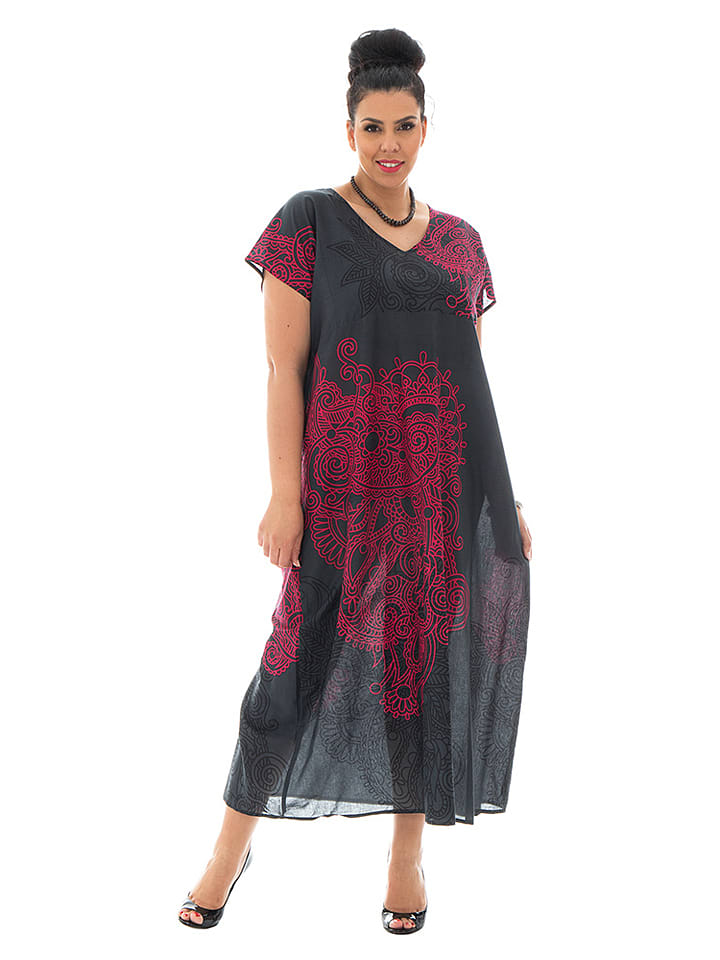 Aller Simplement Kleid in Schwarz/ Pink