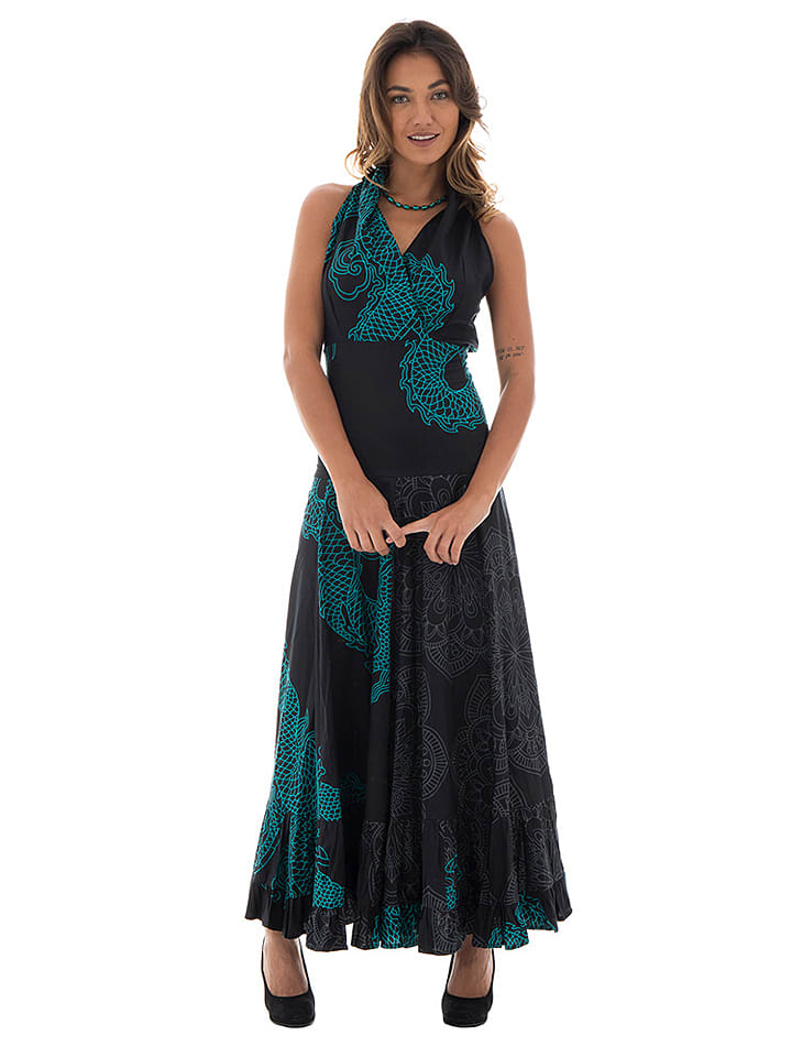 Aller Simplement Sukienka w kolorze czarno-turkusowym