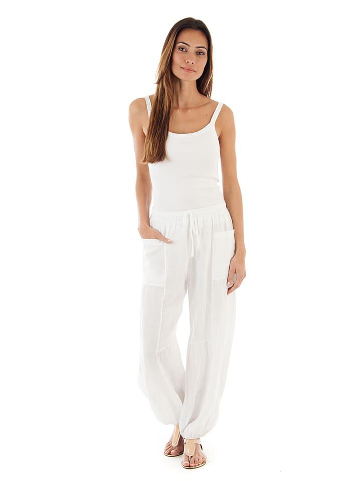 100% Leinen Lniane spodnie w kolorze białym