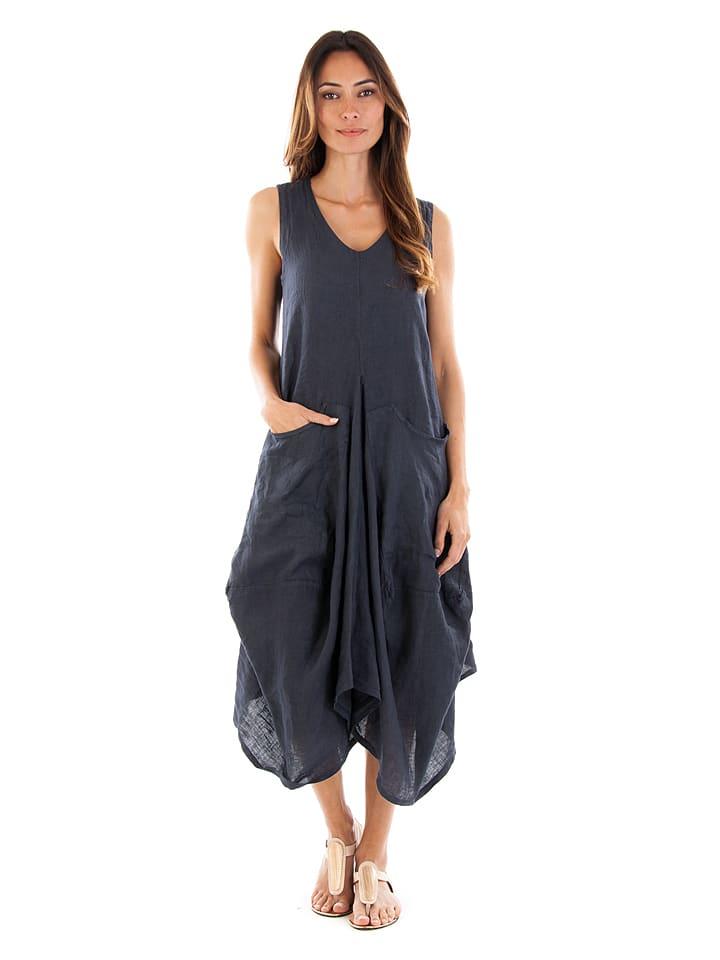 100% Leinen Leinen-Kleid in Dunkelblau