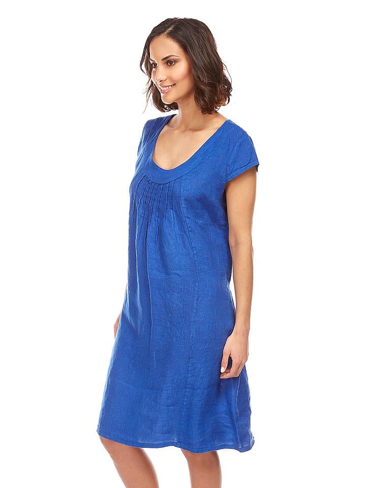 """100% Leinen Lniana sukienka """"Paris"""" w kolorze niebieskim"""