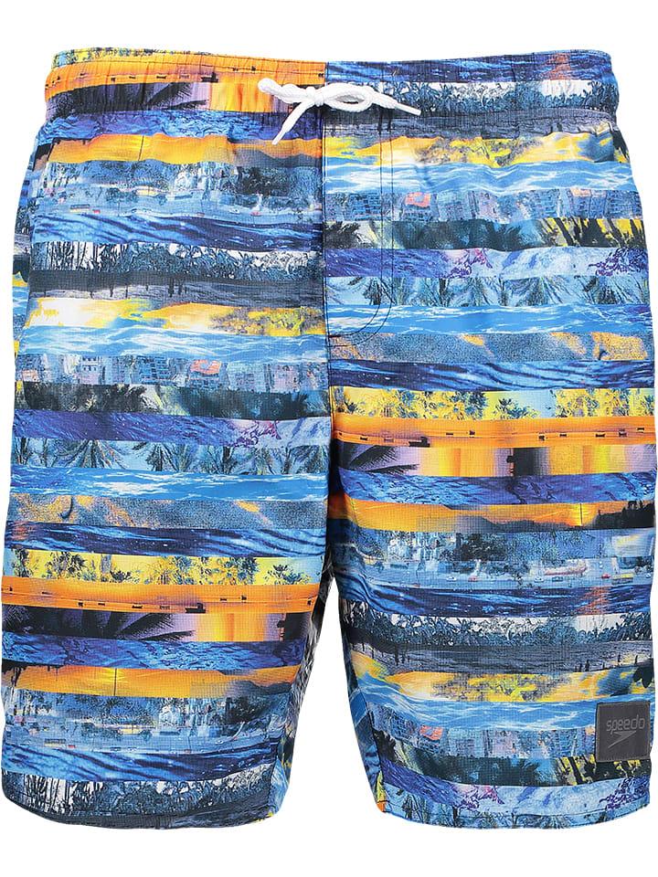 """Speedo Szorty kąpielowe """"Print Leisure"""" w kolorze niebiesko-pomarańczowym"""