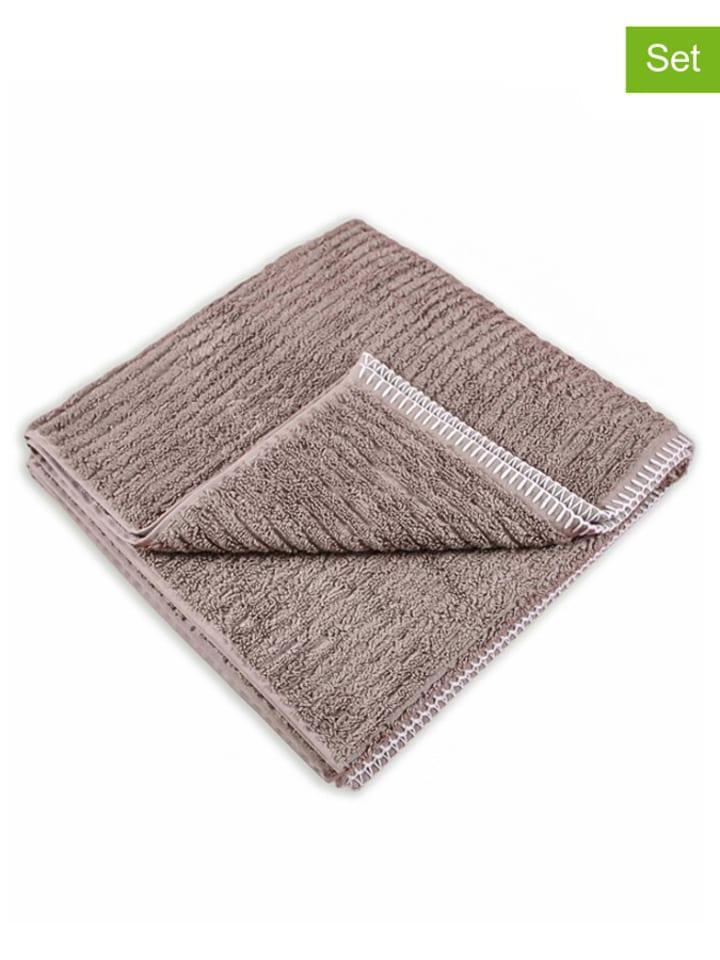 "HNL 2-delige set: handdoeken ""Bamboo"" taupe"