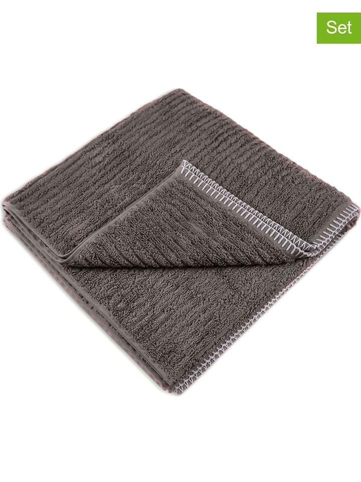 """HNL 2-delige set: handdoeken """"Bamboo"""" antraciet"""