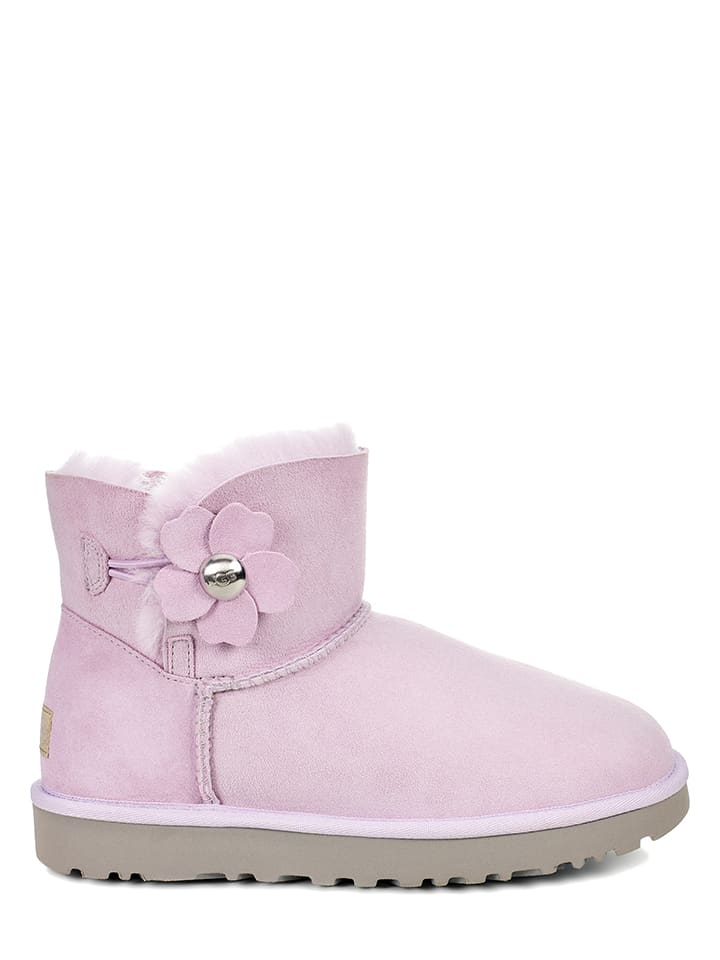 "UGG Leder-Boots ""Mini Bailey Button Poppy"" in Flieder"