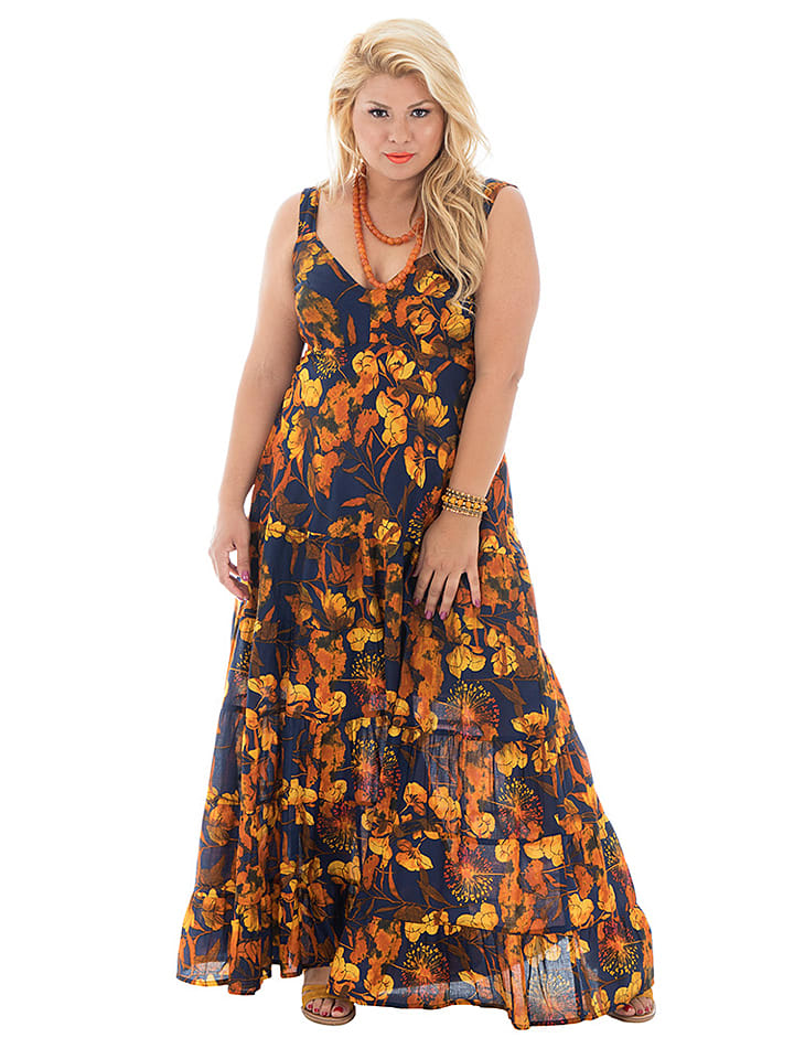 Aller Simplement Kleid in Dunkelblau/ Orange