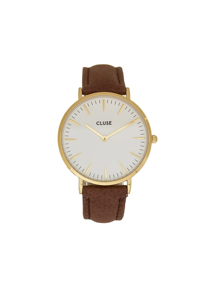 """CLUSE Zegarek kwarcowy """"La Bohème"""" w kolorze brązowo-biało-złotym"""