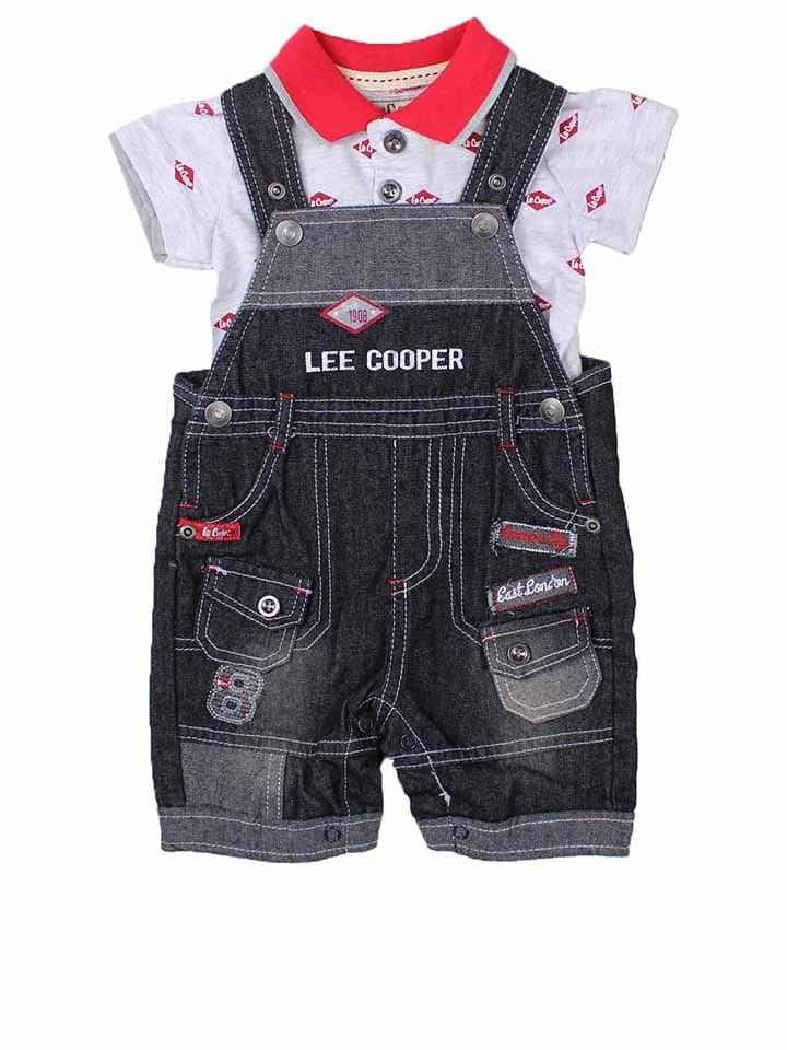 Lee Cooper 2-delige outfit zwart/grijs/rood
