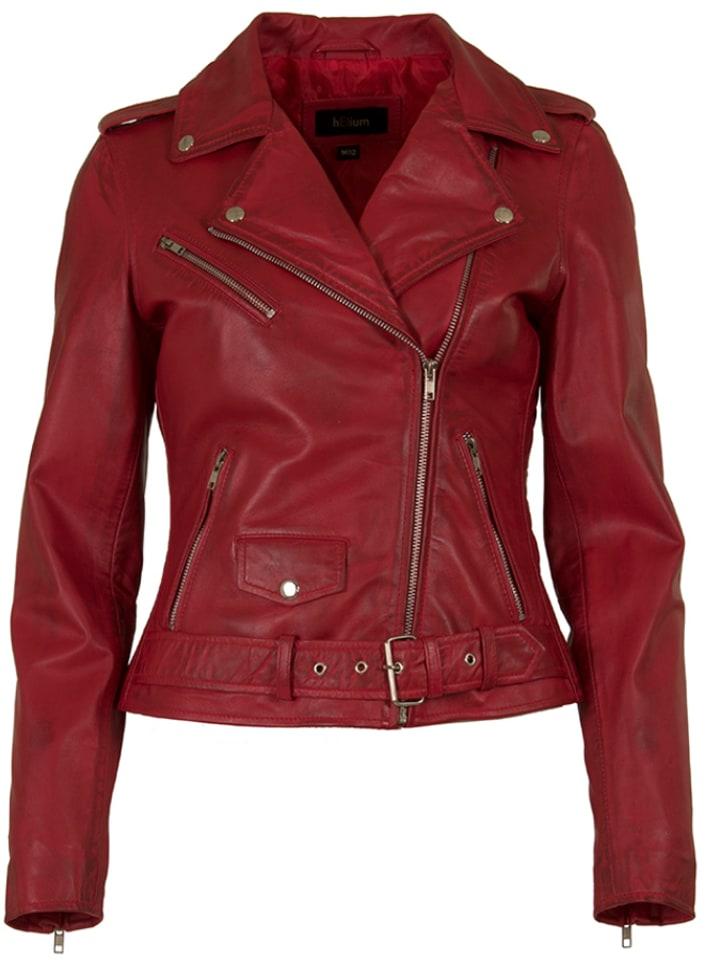 HELium Skórzana kurtka w kolorze czerwonym