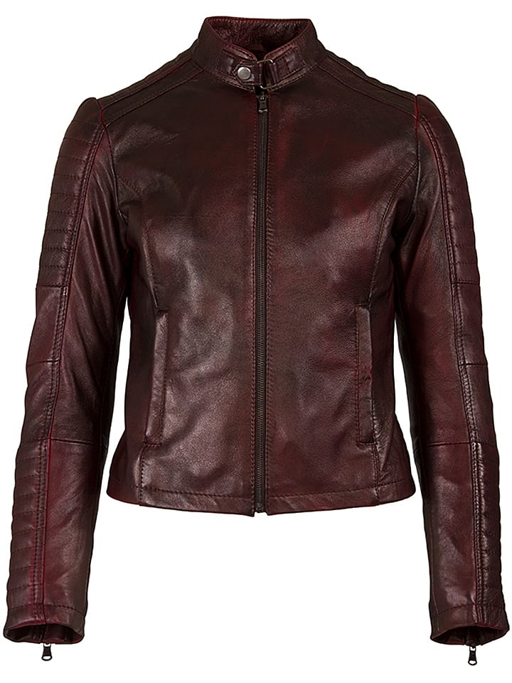 HELium Skórzana kurtka w kolorze brązowo-czerwonym