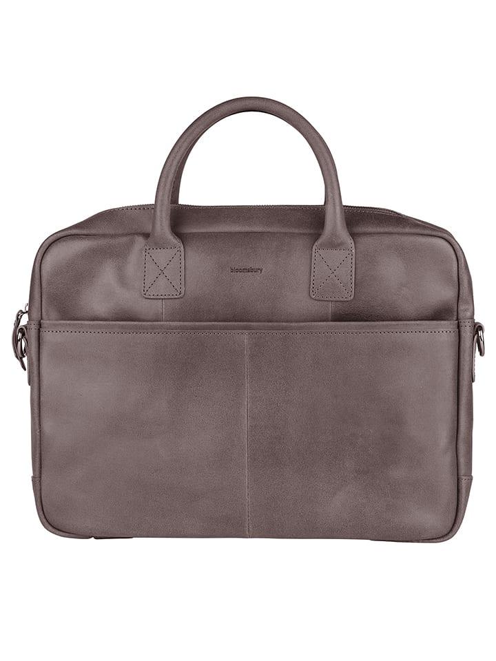 e5091d201382b Bloomsbury Skórzana torba w kolorze szarym na laptopa - 40 x 29 x 5 cm