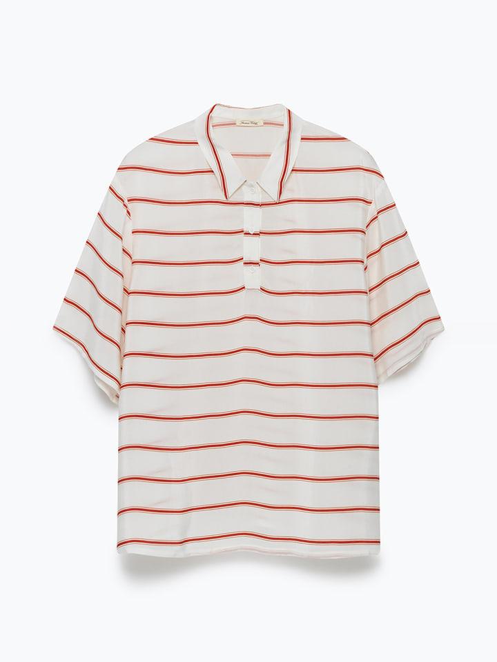 "American Vintage Poloshirt ""Pomegrande"" wit/rood"