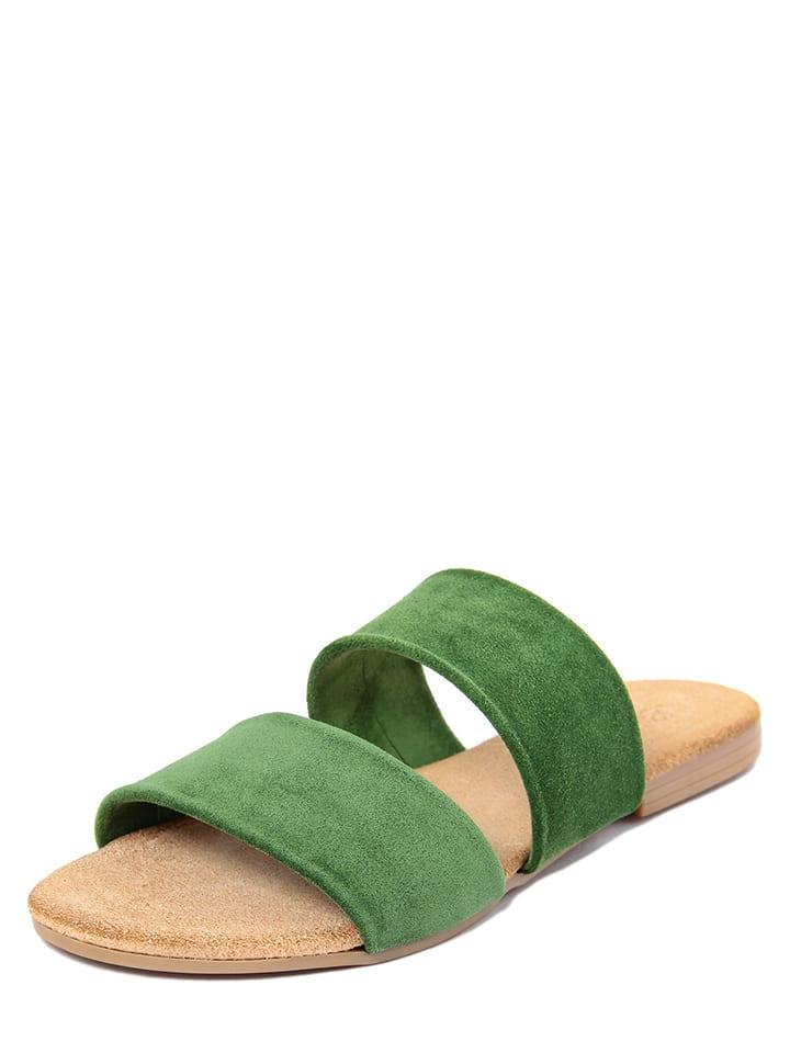 eedde581e9662 Skórzane klapki w kolorze zielonym - Lionellaeffe - Wyprzedaż w ...
